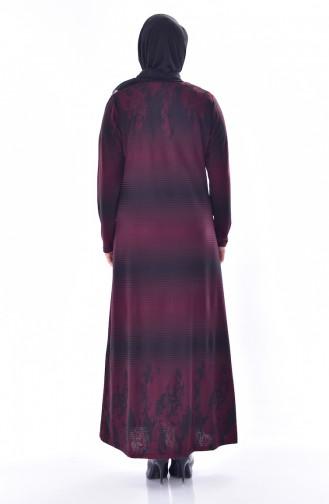 Übergröße Strassstein Bedruckte Kleid 4888-06 Weinrot 4888-06