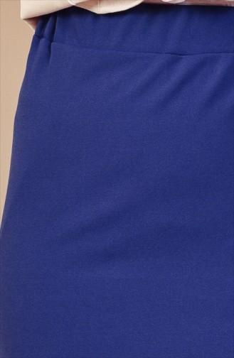 تنورة قصة مستقيمة بتصميم مطاط عند الخصر 1033-02 لون نيلي 1033-02