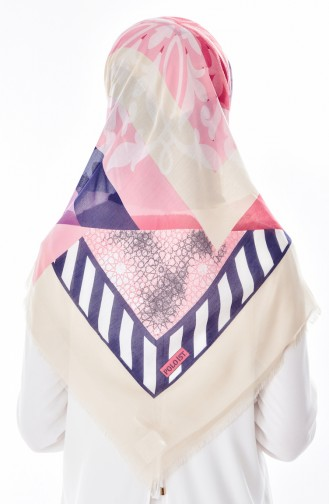 Geometric Patterned Cotton Scarf 2036-06 Cream 2036-06