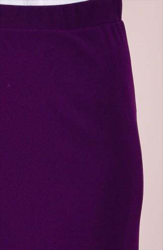 تنورة قصة مستقيمة بتصميم مطاط عند الخصر 1033-06 لون بنفسجي 1033-06