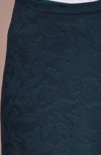 تنورة بتصميم مُطبع 30998- 02 لون أخضر زمردي 30998-02