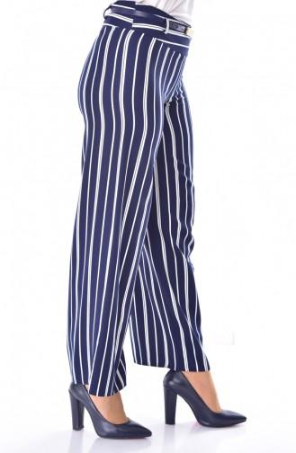 Pantalon Large a Rayure 1225-02 Bleu Marine 1225-02