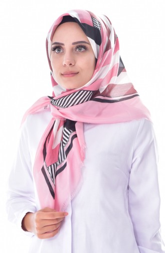 Geometric Patterned Cotton Scarf 2037-14 pink 2037-14