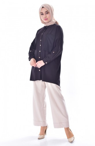 Buttoned Asymmetric Shirt 61040-01 Black 61040-01