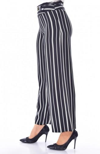 Pantalon Large a Rayure 1225-01 Noir 1225-01