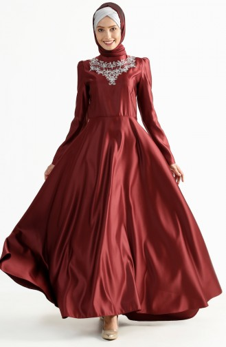 Tailed Evening Dress 7193-02 Bordeaux 7193-02