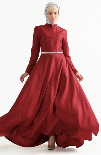 Weinrot Hijab-Abendkleider 7194-02