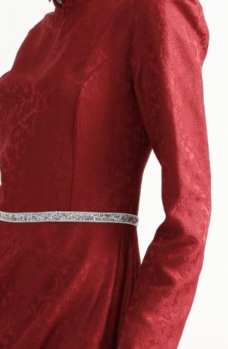 فستان بتصميم مُطبع 7194-02 لون خمري 7194-02
