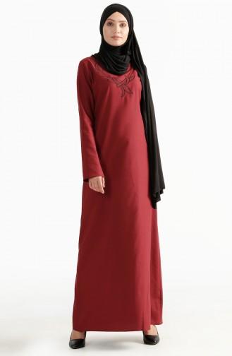 Nakışlı Elbise 2975-03 Bordo 2975-03