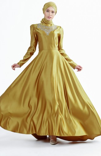 Tailed Evening Dress 7193-04 Gold 7193-04