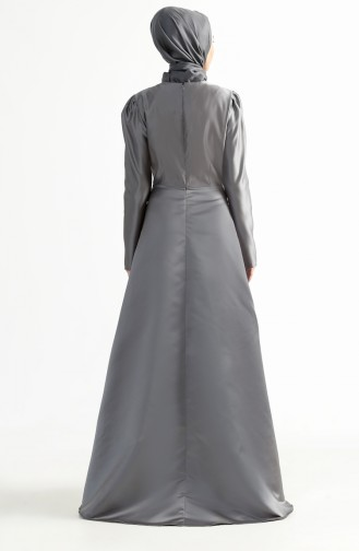 Tailed Evening Dress 7193-03 Gray 7193-03