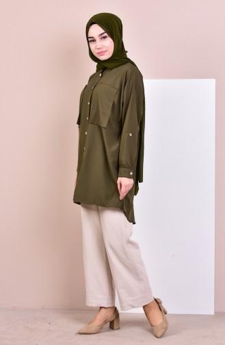 Buttoned Asymmetric Shirt 61040-02 Khaki 61040-02