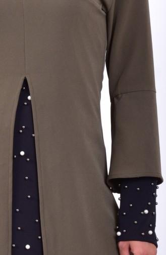 İncili Tunik Pantolon İkili Takım 7003-04 Haki 7003-04