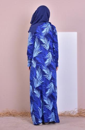 Patterned Dress 7640-01 İndigo 7640-01