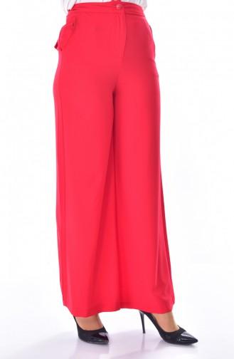 Cepli Bol Paça Pantolon 41074-03 Kırmızı