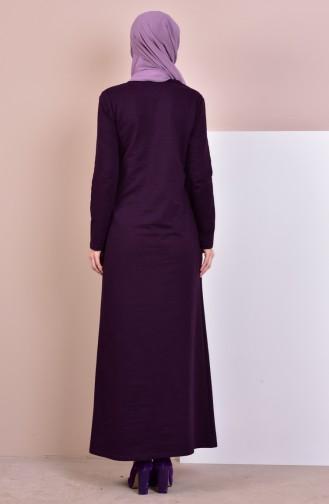 توبانور فستان مُحاك بتصميم مُزين بقلادة 2779-20 لون بنفسجي داكن 2779-20