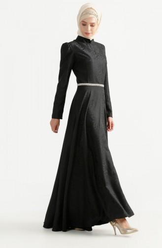 فستان بتصميم مُطبع 7194-10 لون اسود 7194-10