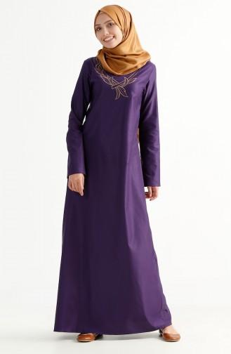 Nakışlı Elbise 2975-13 Açık Mor 2975-13