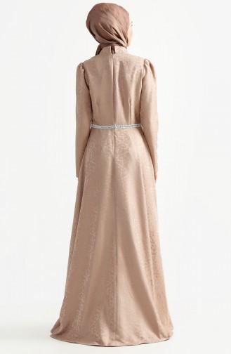 فستان بتصميم مُطبع 7194-07 لون بُني مائل للرمادي 7194-07