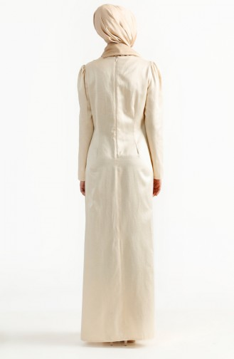 Embroideried Evening Dress 7201-03 Beige 7201-03
