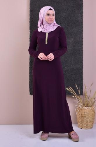 فستان بتفاصيل من الأحجار اللامعة 99160-01 لون خمري 99160-01