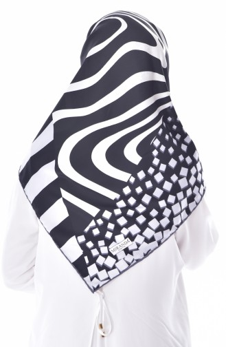 Patterned Shawl 2040-09 White Blue 2040-09