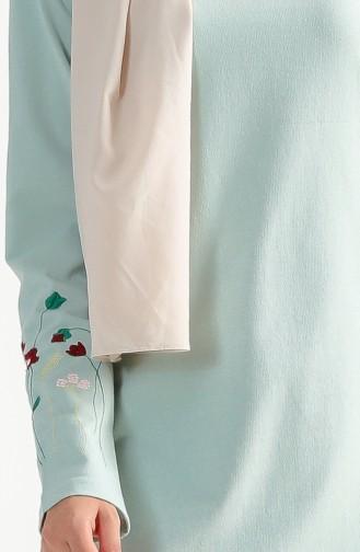 Çiçek Nakışlı İki İplik Elbise 2980-05 Çağla Yeşili 2980-05