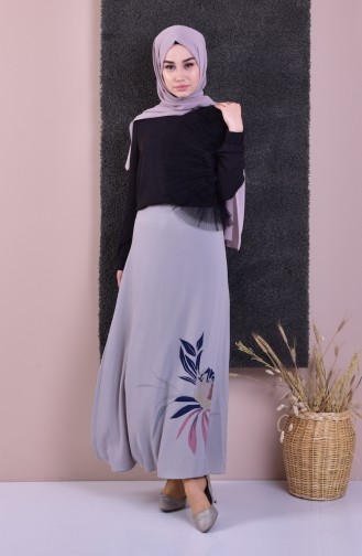 Patterned Flared Skirt 0001-01 Gray 0001-01