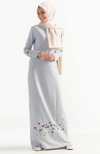 توبانور فستان مُحاك بتفاصيل مُطرزة 2980-08 لون رمادي 2980-08