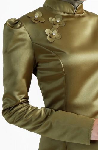 فستان سهرة مُزين بالورد 7192-07 لون اخضر كاكي 7192-07