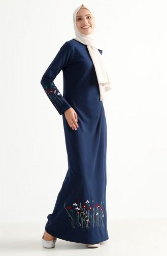 Robe Bordée de Fleurs 2980-02 İndigo 2980-02