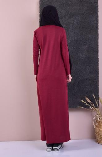 TUBANUR Embroidered Cotton Dress 2876-14 Dark Claret Red 2876-14