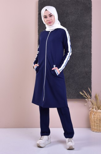 Zippered Tracksuit Suit 5060-02 Navy 5060-02