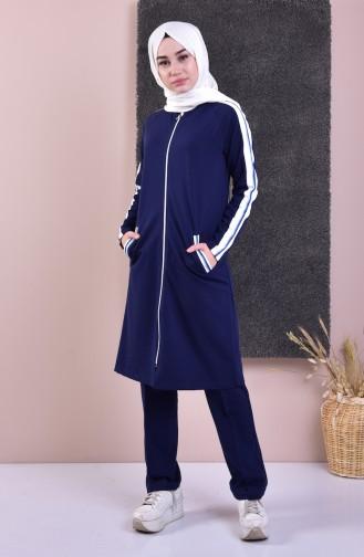بدلة رياضية بتصميم سحاب 5060-02 لون كحلي 5060-02