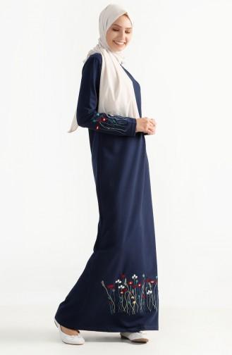 Çiçek Nakışlı İki İplik Elbise 2980-01 Lacivert 2980-01