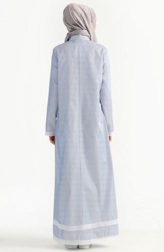 Robe a Dentelle et Rayure 7196-01 Bleu 7196-01
