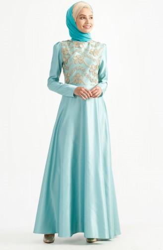 فستان سهرة بتصميم من الدانتيل 7198-02 لون اخضر فاتح 7198-02
