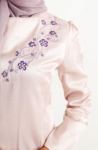 فستان سهرة بتفاصيل مُطرزة 7201-02 لون وردي 7201-02