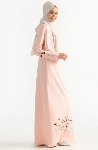 Çiçek Nakışlı İki İplik Elbise 2980-06 Pudra 2980-06