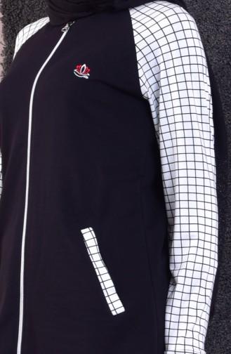 Zippered Tracksuit Suit 5030-01 Black 5030-01