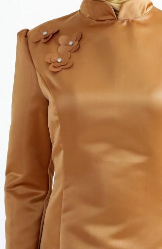 فستان سهرة بتصميم اكمام مُزينة 7192-01 لون عسلي 7192-01