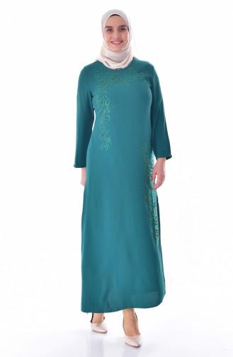 Übergröße Kleid mit Perlen 1113B-03 Smaragdgrün 1113B-03