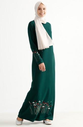 Robe Bordée de Fleurs 2980-04 Vert emeraude 2980-04