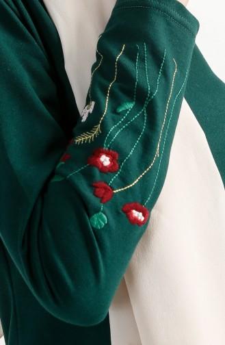 توبانور فستان مُحاك بتفاصيل مُطرزة 2980-04 لون اخضر زُمردي 2980-04