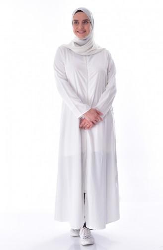 Abaya a Fermeture 6026-13 Blanc 6026-13