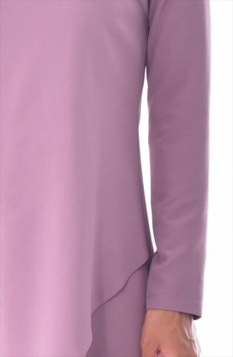 Asimetrik Tunik Pantolon İkili Takım 6132-03 Gül Kurusu 6132-03