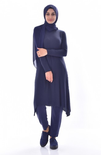 Asymmetric Knitted Tunic 3333A-02 Navy 3333A-02