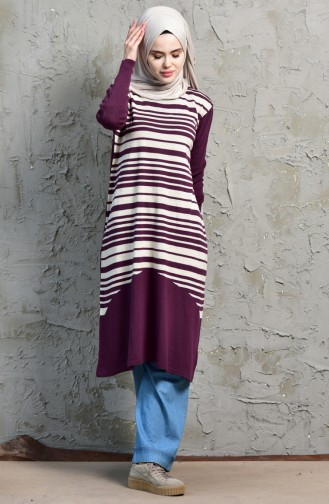 iLMEK Striped Tunic 4072 -04 Purple 4072  -04