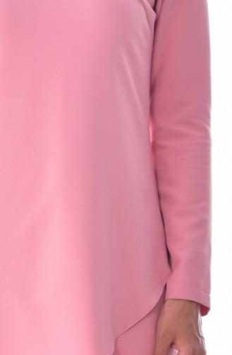 Asimetrik Tunik Pantolon İkili Takım 6132-02 Pudra 6132-02
