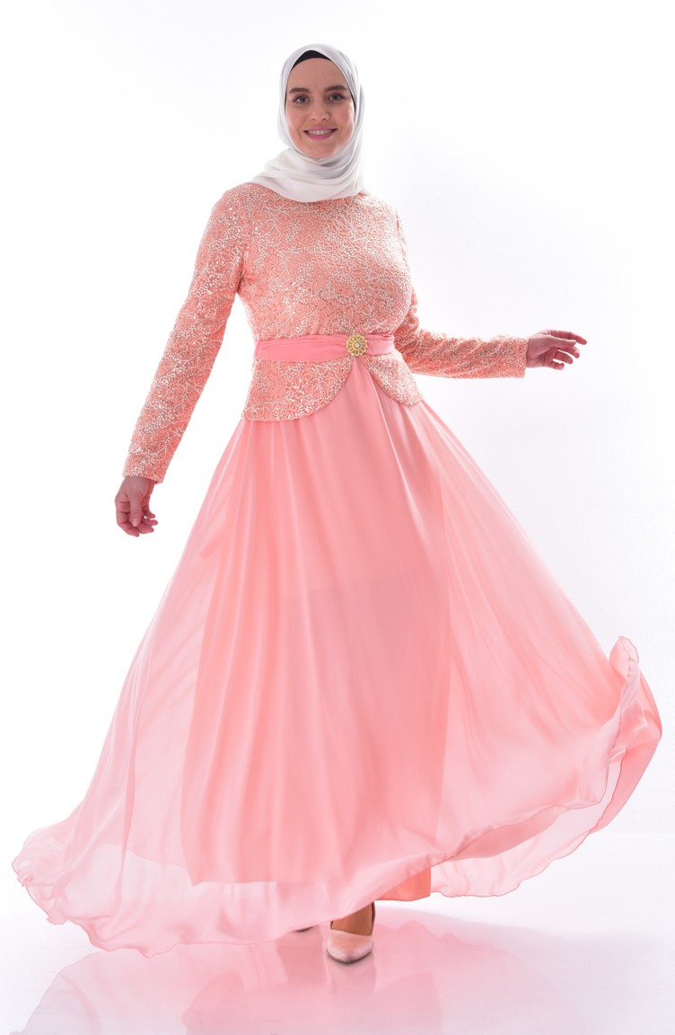 Plus Size Sequined Evening Dress 9062 02 Salmon 9062 02